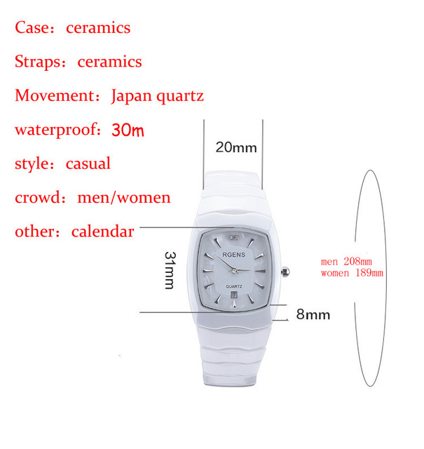 RGENS Originale delle donne di ceramica orologio da polso al quarzo delle signore orologi Piazza casual impermeabile orologi da polso di lusso del Diamante numero 5508