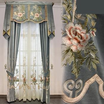 Custom curtains High-grade silk velvet European bedroom floor window grey thick cloth blackout curtain tulle valance drapes N425 window valance