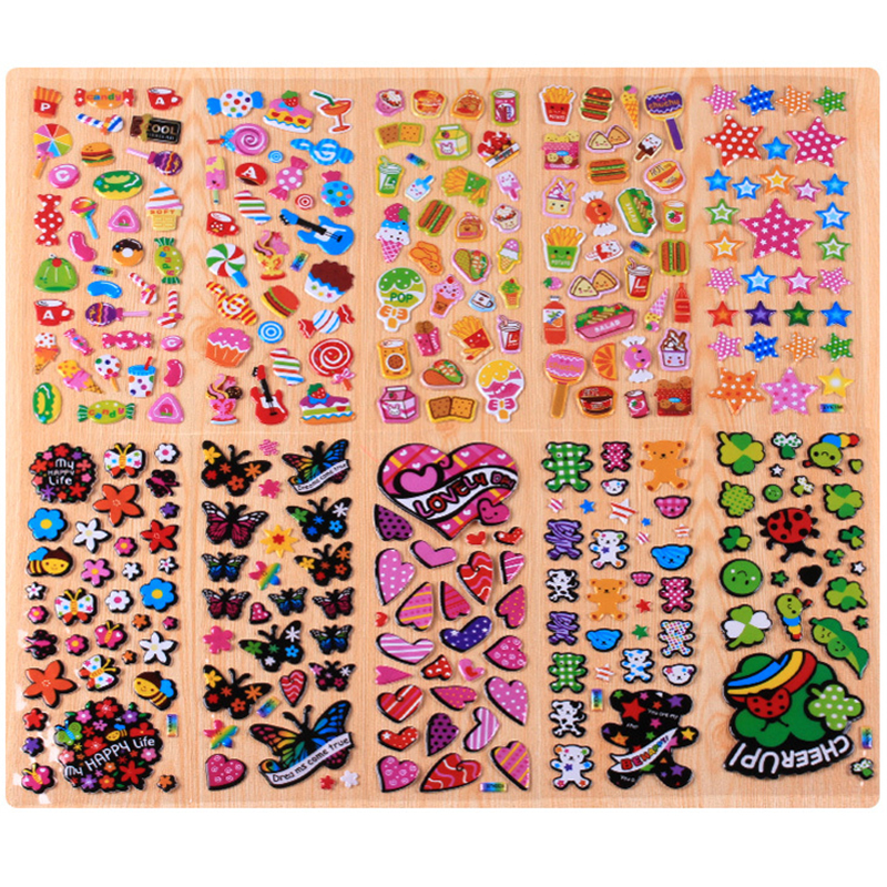10 Sheets Flower Butterfly DIY Bubble Stickers Cartoon Kids Stickers Toys Pegatinas Emoji PVC Sticker Scrapbook Gift For Kids babaite super large size optional mouse pad natural rubber material waterproof desk mat for 400x900x2mm
