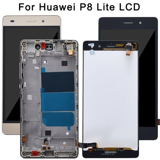 """화웨이 p8 라이트 디스플레이 용 5.0 """"lcd 화웨이 p8 라이트 디스플레이 용 프레임 교체가있는 터치 스크린 디지타이저 ALE-L21 p8lite"""