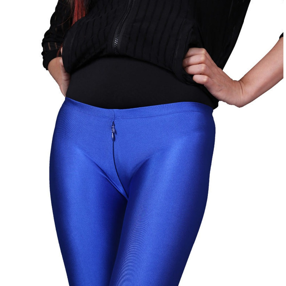 Image 5 - Spandex Smooth Wearproof Bodycon Shiny Pantyhose Women Low Waist Zip Open U Crotch Hot Sexy Legging Club Bar Pants Boot PantTights   -