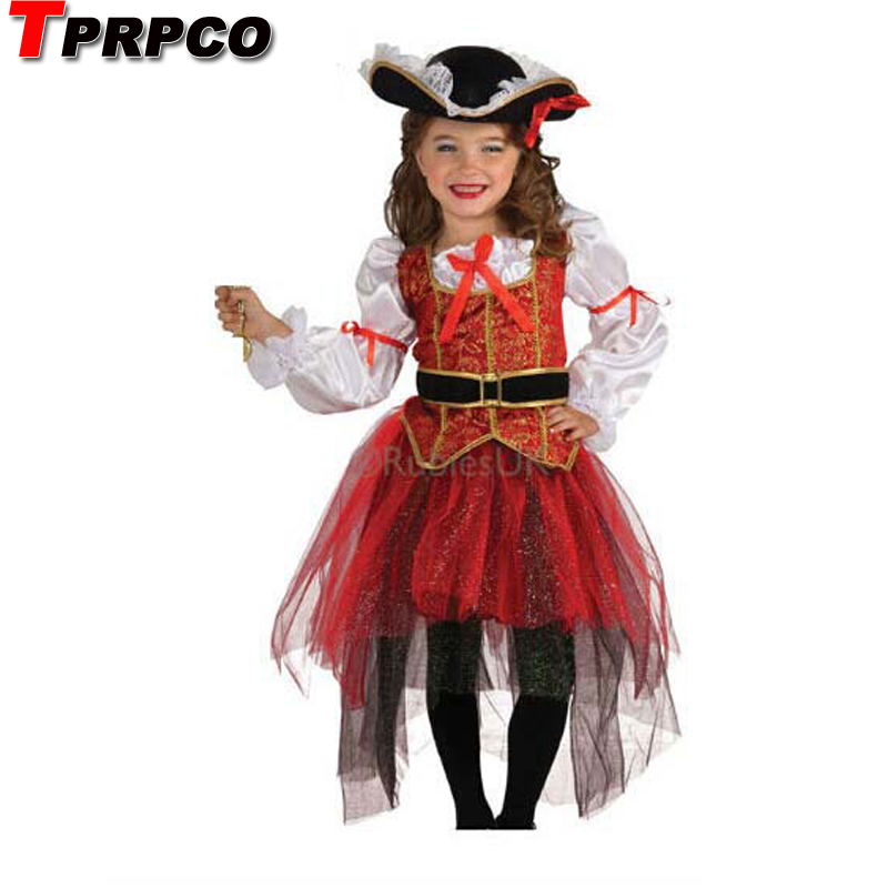 TPRPCO Halloween Christmas pirate costumes  girls party cosplay costume for children kids clothes NL162
