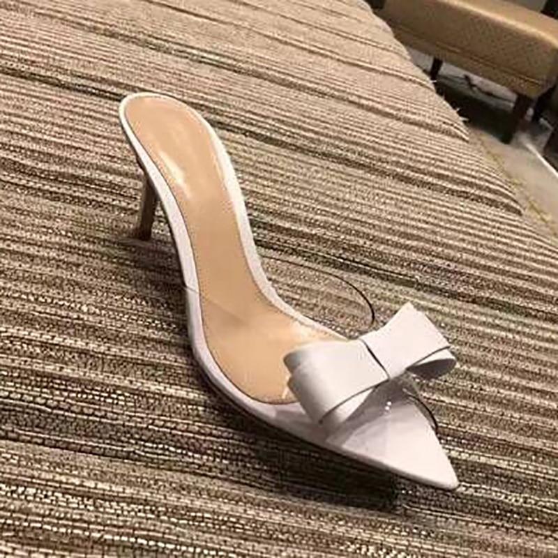 Mariposa La Delgado Moda Zapatilla Elegante Alto Decoración Nudo Mujer Zapatos Pic Tacón Transparente Y Caliente Pvc De As YfqHg0