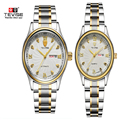 2016 Amantes de la Marca de Relojes de Lujo Hombres Mujeres Moda Casual Reloj Reloj De Acero Fecha de Pareja de negocios 30 m Impermeable relojes Par