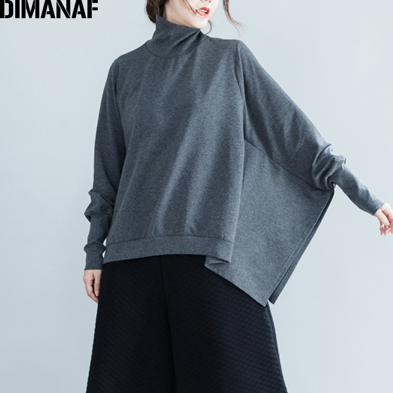 DIMANAF Women Winter Plus Size Sweatshirts Turtleneck Long Batwing Sleeve Oversized Pullover Top Solid Thick Loose Clothing 2019