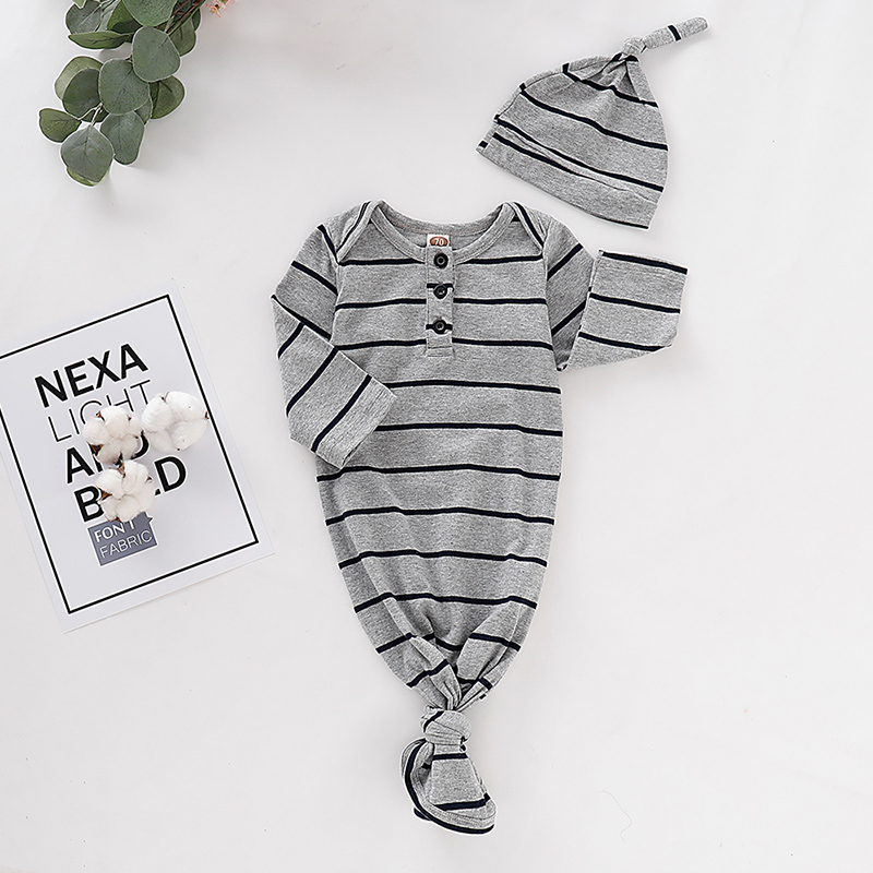 Newborn Infant Cute Cotton Long Sleeve Floral Print Unisex Bebe Boy Girls Bodysuit with Headwear baby Sleeping Bag D20(China)