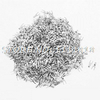 1000 Pcs SNB1.25-3.2 AWG 22-16 Wire Connector Non Insulated Fork Terminals 1000pcs rnb2 8 awg 16 14 wire connector non insulated terminals cable lug