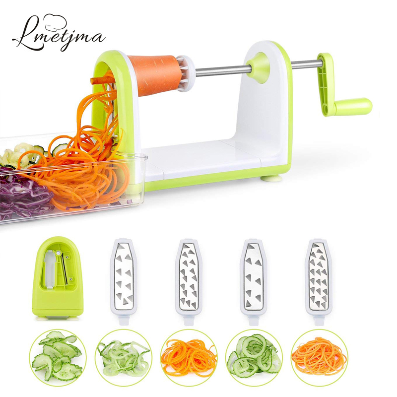 LMETJMA Spiralizer овощерезка из нержавеющей стали, овощерезка, шредер, лапша из цуккини, спагетти, Spiralizer KC0089