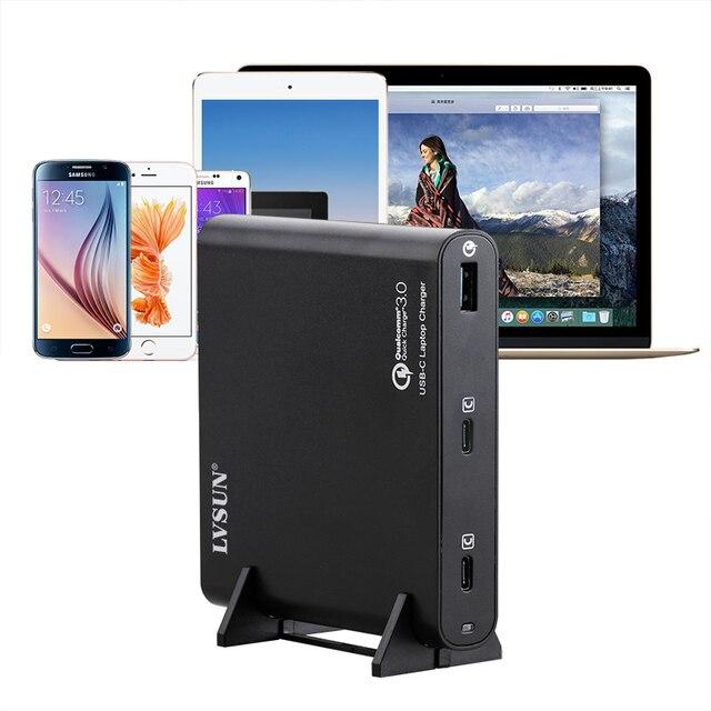 LVSUN 87W Universal QC3.0 Charger USB C Laptop Adapter 2 Ports PD3.0 Quick Charger 12V/15V/16V/18V/19V/20V Notebook Power Supply