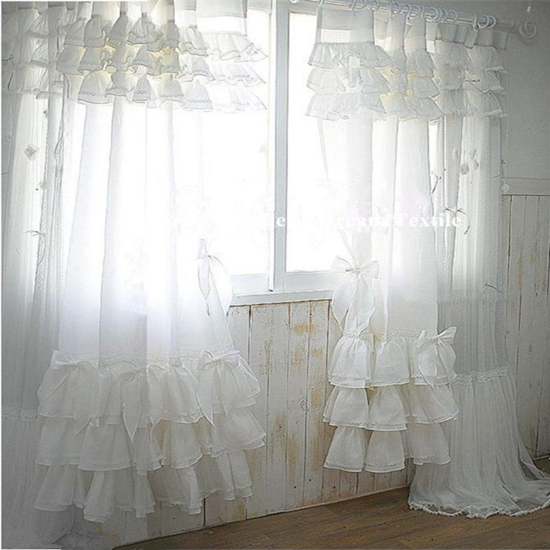 Elegant white cake cloth curtain lace cotton bedroom curtains for living room luxury American style cortinas