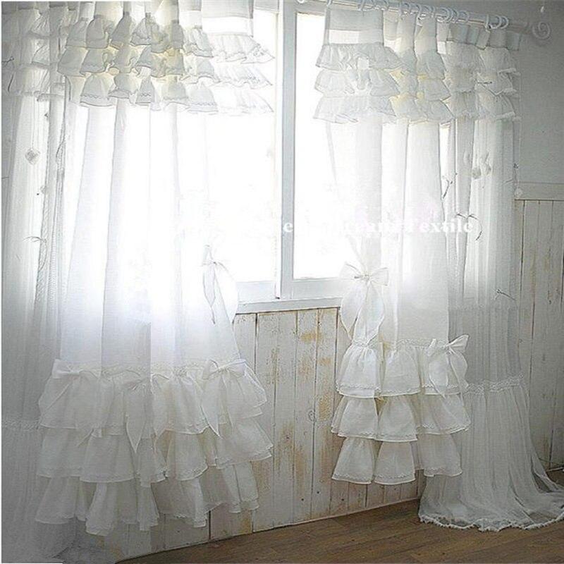 ✓Élégant blanc gâteau tissu rideau dentelle coton chambre rideaux ...