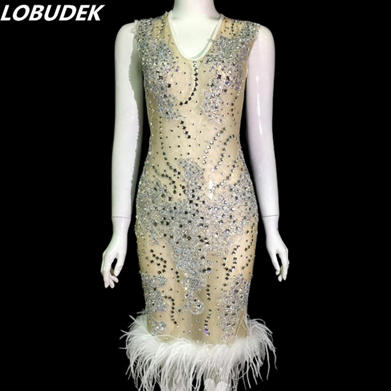 Costumes Clubs Partie Robe through D'étape Chanteur De Perspective Cristaux Manches See Usage Soirée Sans Hôte Strass Plumes vaHaq6
