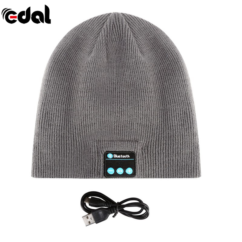 EDAL Soft Warm Beanie Hat Wireless Bluetooth Smart Cap Headphone Headset Speaker Mic Hot 11 Colors wireless bluetooth music beanie cap stereo headset to answer the call of hat speaker mic knitted cap
