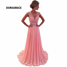 robe de soiree Glamorous V Neck Side Zipper Floor-Length A Line Applique Chiffon Long Evening Dresses DGE031