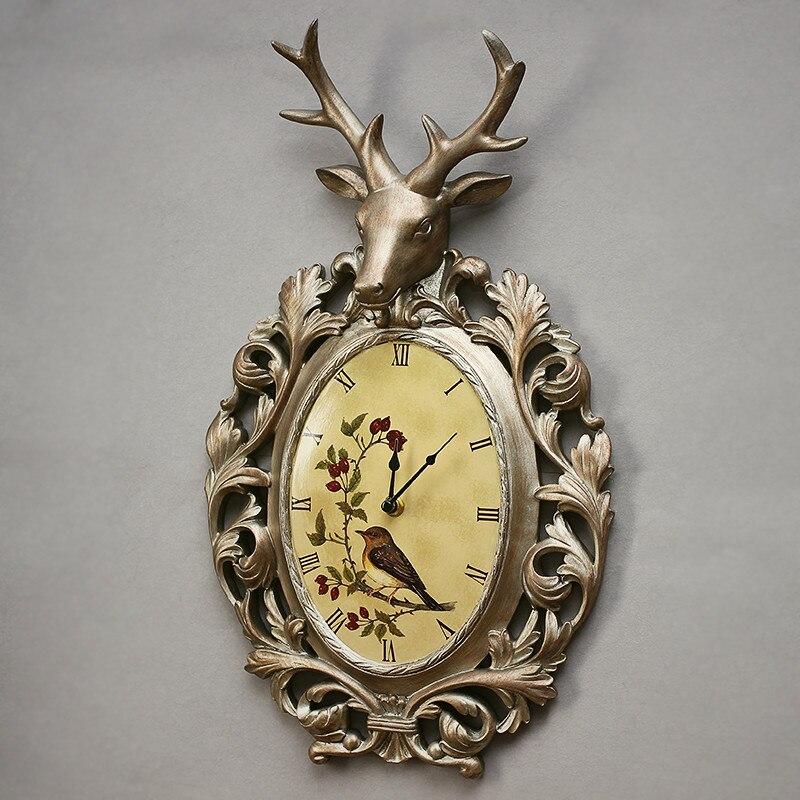 Vintage Deer Head Bronze Wall Clock Creative American Watch European Home Clock Mute Decorative Resin Wall Decor Zegar 50w288