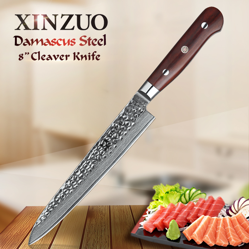 XINZUO 8 inch Cleaver Knife VG 10 Damascus Steel Sling Kitchen Knife Natural Rosewood Handle Best