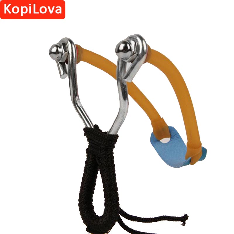 KopiLova Outdoor Emergency Self Defense Sling Shot With Rubber Band Stainless Steel Bow Catapult for Hunting Camping