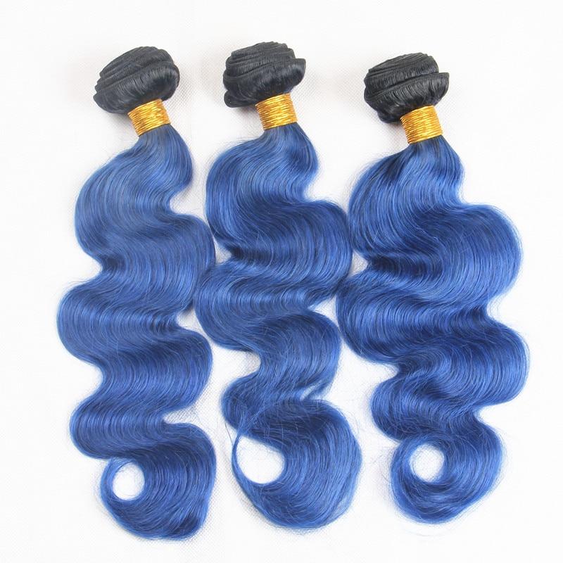Riya Hair Brazilian Ombre Human Hair 1b/ocean Blue Color Body Wave Hair 3 Bundles/piece Fashion Human Hair Extension 12-22 Luxuriant In Design Hair Extensions & Wigs 3/4 Bundles