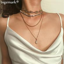 Ingemark Bohemian Black Beads Choker Necklaces Imitation Pearls Pendant Fashion Golden Full Shell Chain Necklace Women Jewelry imitation pearls choker necklace female cross chain beads pendant necklaces for women gold color 2019 fashion coin jewelry