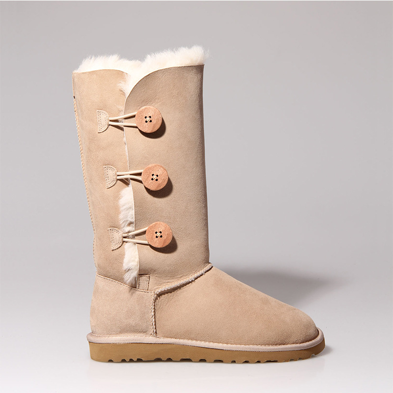 Top Quality 100% Natural Fur Snow Boots Genuine Sheepskin Leather Women Long Boots Winter Boots Warm Wool Fashion High Boots