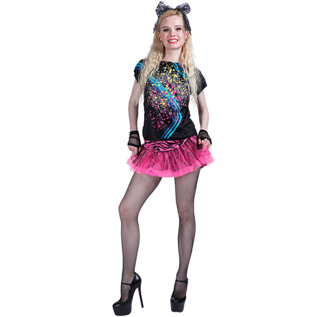 Women Sexy 80s Girl Costume Dress Adult Female Cosplay Fancy Dress ...