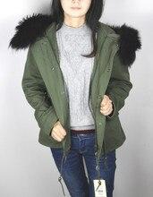 Без подкладки 2016 новых 8 цветов армия зеленый весной пальто женщины короткая натуральный мех большой енот меховой воротник с капюшоном тонкий слой куртка