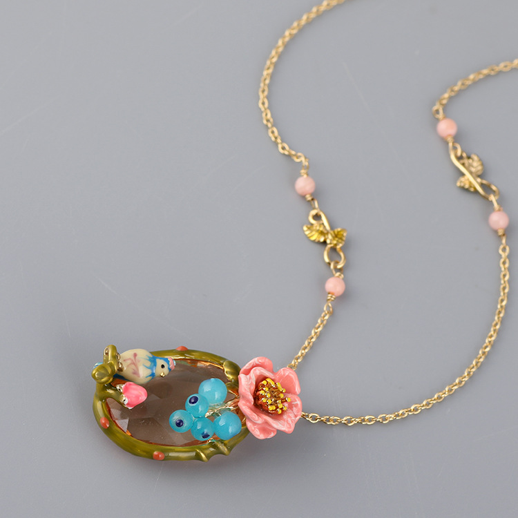 Online Shop France Les Nereides Enamal Bird Pendant Necklaces ...