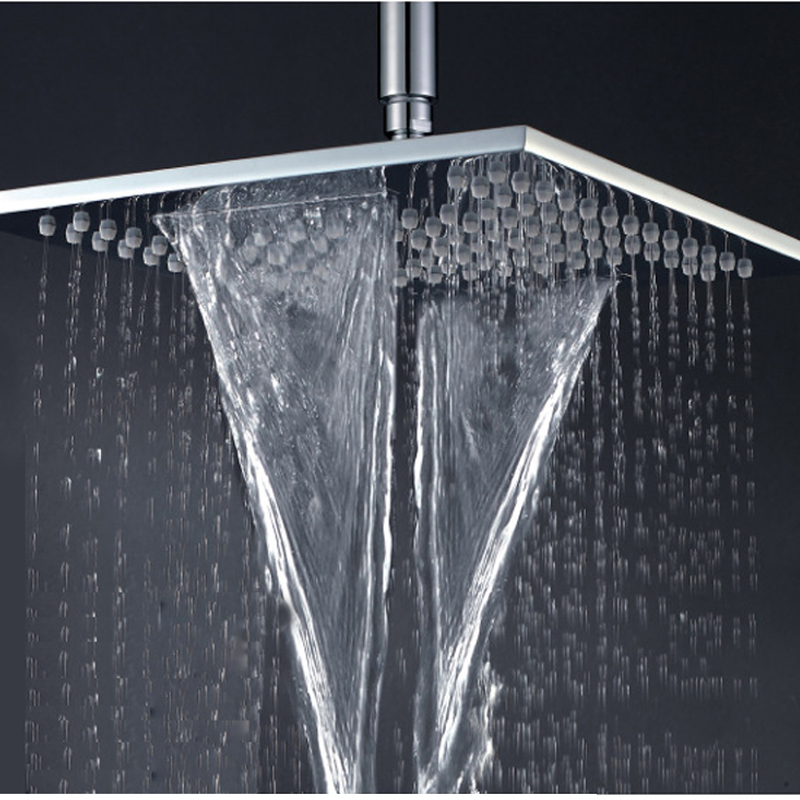 Rainfall & Waterfall Square 10 inch  Bathroom Rainfall Shower Head Brass Thicker Showerheads Wall Mounted Shower Chrome Finish good quality wall mounted square style brass waterfall shower set new bathroom shower with handle rainfall shower head