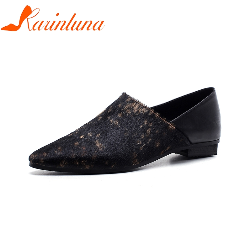 KARINLUNA 2018 Fashion Top Quality Large Size 33-43 Brand Flats Woman Shoes Women Slip On Pointed Toe Black Woman Shoes hot sale 2016 new fashion spring women flats black shoes ladies pointed toe slip on flat women s shoes size 33 43