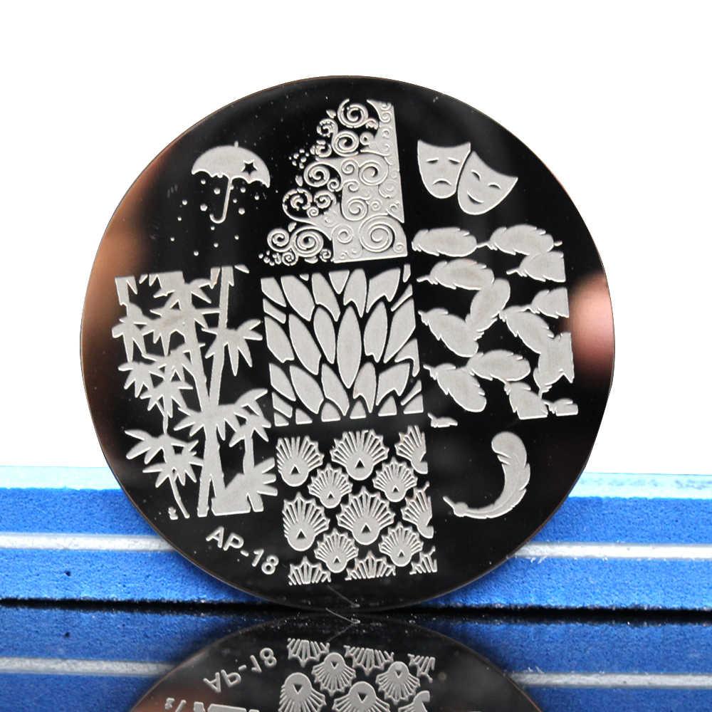 Conjunto de placas de estampado de uñas Pandox AP18 hoja de bambú y pluma