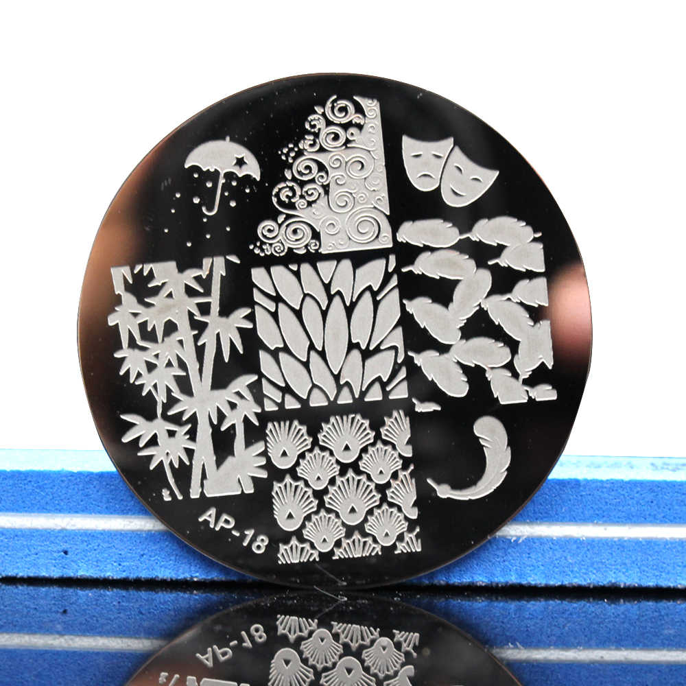 Pandox  AP18 Bamboo Leaf & Feather Nail Art Stamp Template Image Plate Nail Stamping Plates Set