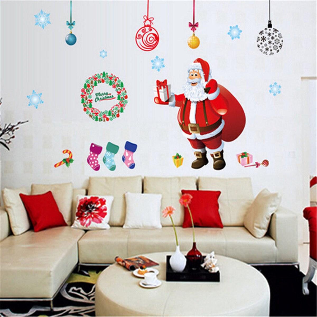 Wall Sticker Gift Winter Art Mural Window Christmas Tree Santa Claus Home Decor New Year Window