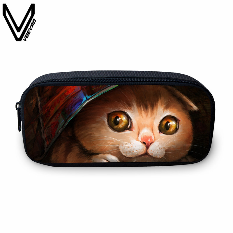 VEEVANV 2017 Cute Cat Small Case For Students Casual Study Box For Girls Fashion Animal Printing Make Up Bags School Cases Kids