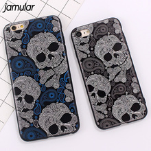 JAMULAR PU Leather Cover for iPhone X 6 6S 7 8 Plus Cases Slim Soft Skull Crossbone Case For iPhone 7 6 6s 8 Plus Protective