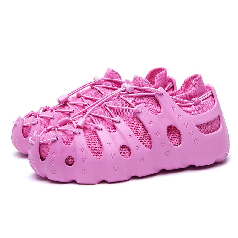 مرات جديدة الرومانية الصيف موضة تنفس رجل حذاء خفيف الدانتيل يصل ضوء في الهواء الطلق أحذية رياضية للجنسين
