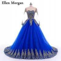Blue Ball Gowns Prom Dresses For Women 2018 Real Pictures Sheer Neck Lace Glitter Tulle Lace
