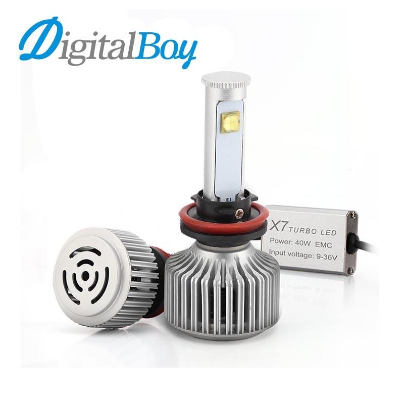 ФОТО Digitalboy H8/H9/H11 LED Headlight Car 7200LM 80W Headlamp Bulb 6000K Car LED Conversion Kit Automobile Front Light Easy Install