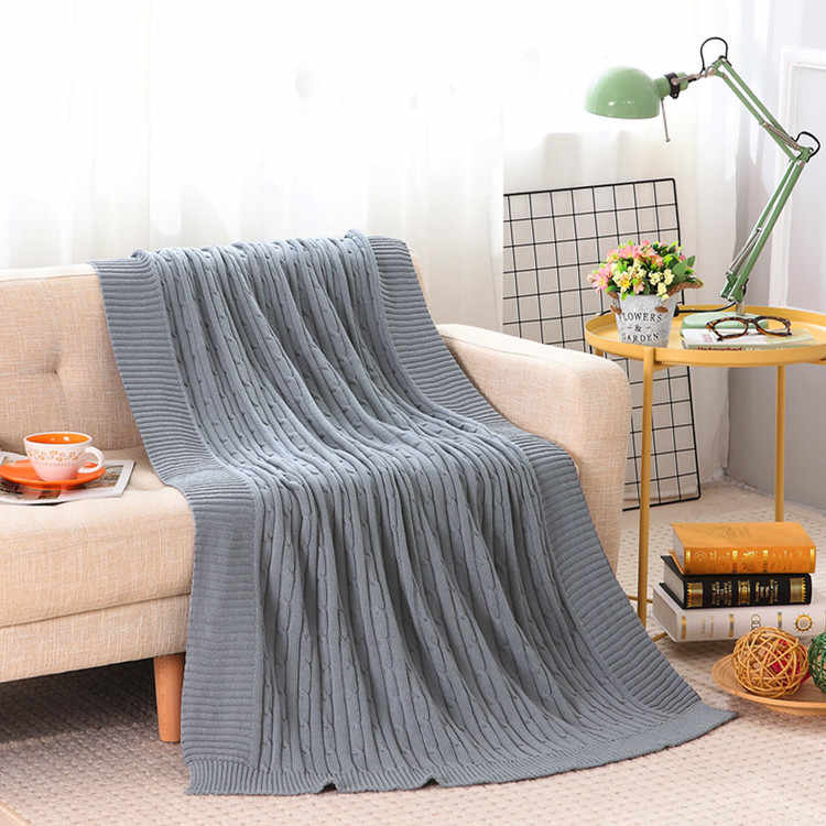 Soft Handmade 100% Cotton Knitted Blanket Solid Color Plaids Knit Throw Couch TV Blanket On Sofa Bed Plane Warm Bedspread 3sizes