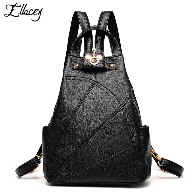 New Preppy Style Women Backpack Girls Zipper Travel Large Capacity School Bag Fashion Leisure Black Backpack