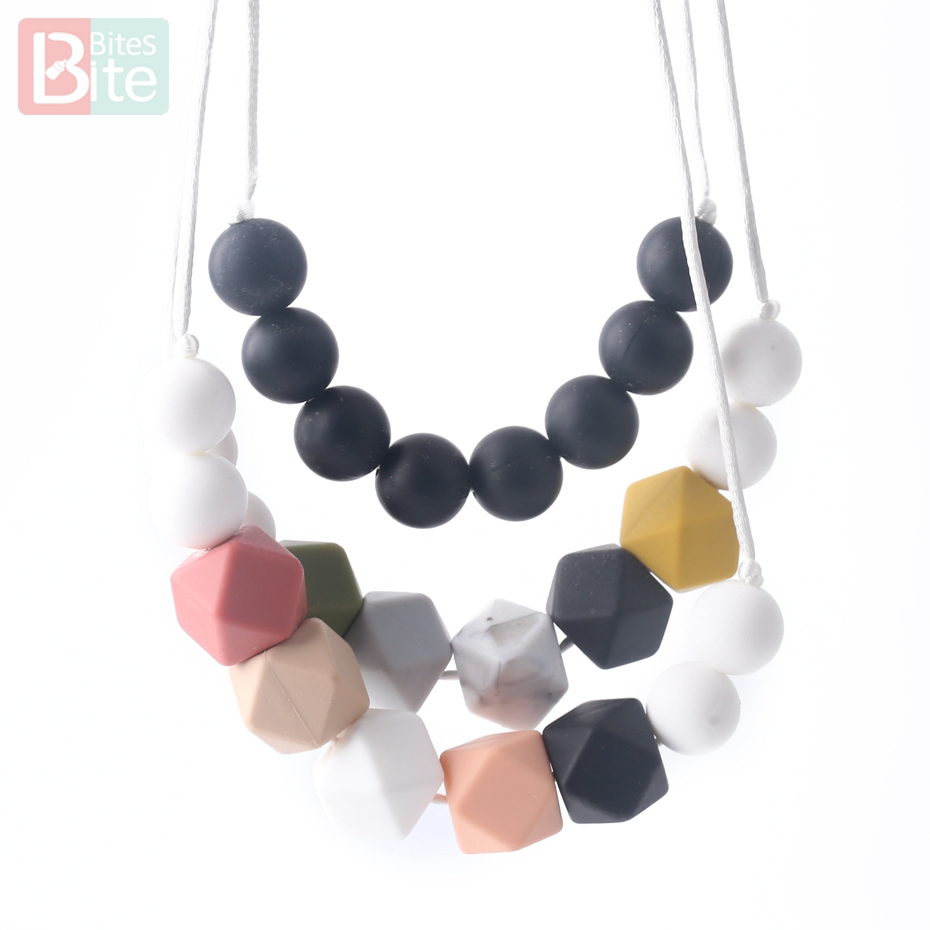 Bite Bites 2pc/set Baby Teething Necklace Nurse Gift Food Grade Silicone BPA Free Silicone Beads Feeding Chain Baby Teether