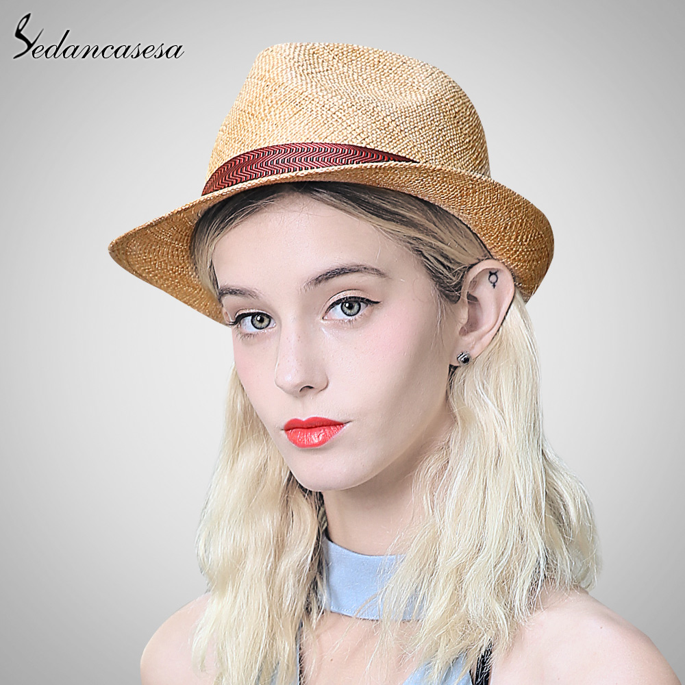 Sedancasesa 2019 New Sun Hat for Women Men Jazz Cap Panama Floppy Hat Fedoras Summer Straw Hats Female Beach Hat SM008113