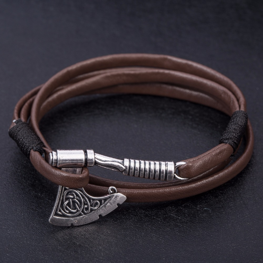 Lemegeton Axe Mental Pendant Men Leather Bracelets Slavic Of Peron Easy Hook Genuine Bangles Chain Fashion Jewelry In Charm From