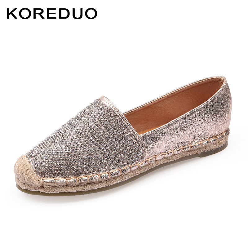 KOREDUO spring Bling women loafers cane hemp straw fisherman flat heels shoes espadrilles woman lazy flat zapatos mujer msw genshuo women flats shoes casual round toe loafers fisherman espadrilles lazy hemp rope weave shoes woman black pink black pink