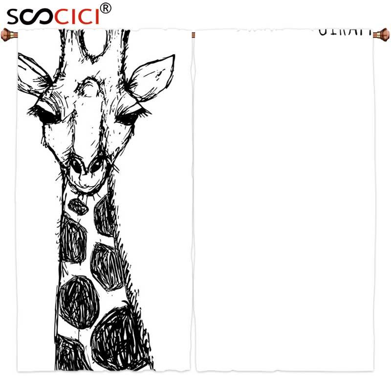 Rideaux de fenêtre 2 panneaux   Décoration de maison, dessin mignon de girafe de Safari avec son col haut et points, image sauvage de lafrique de louest