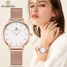 STARKING montres à Quartz pour femmes, Bracelet en acier inoxydable en or Rose, minimaliste, tenue pour dames, mode 2017