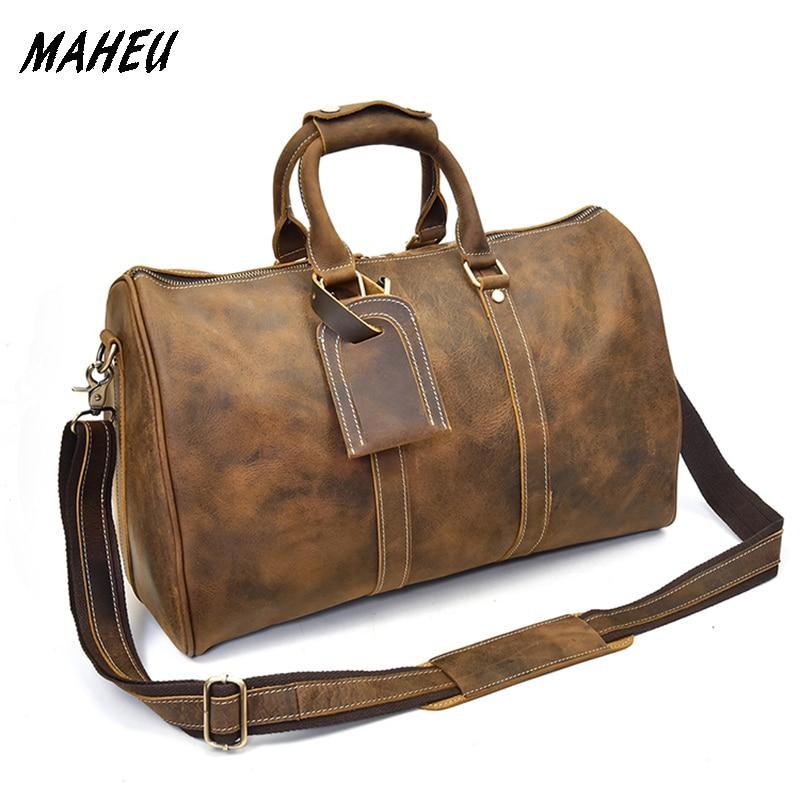 Men genuine leather travel bag 18 real leather Weekend Bag shiny real Leather Travel Luggage Tote bag overnight shoulder bag
