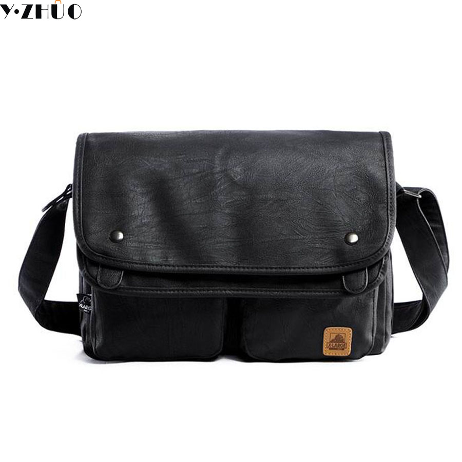 f4a45692ec vintage men crossbody bags leather high quality men shoulder bag casual  brand men messenger bags black men travel Laptop bag