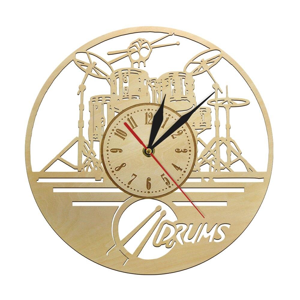 Unique Musical Non-ticking Wood Clock Suzuki Drummer Single Guy Studio Art Decor Teachers Appreciation Percussion Musician Gifts