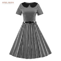 Summer Plaid Vintage 50s Rockabilly Dress With Short Sleeve Women Robe Pin Up Midi Women Clothing