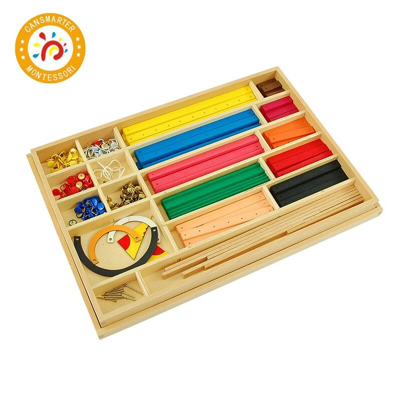 Bébé jouet Montessori matériel géométrie bâtons et liège Workboard mathématiques enseignement aides enfants jouet